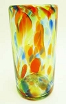 Perfecto Tumbler Glass, 16 oz. Solid Confetti<br>Hand blown glass from Mexico
